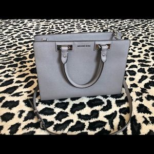 Grey Michael Kors Purse with silver hardware